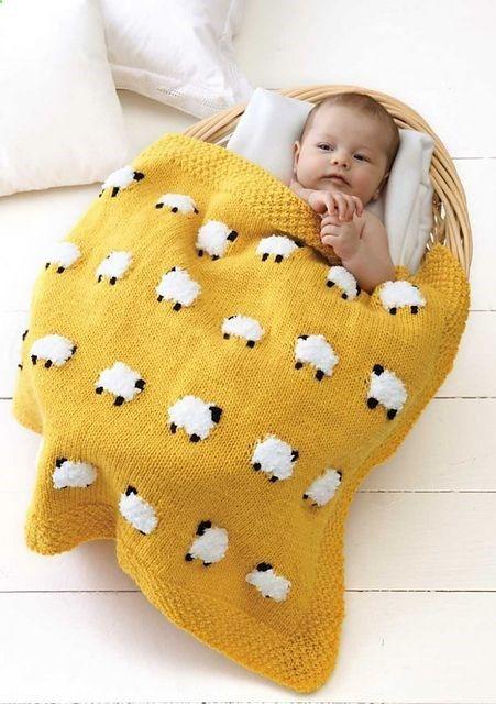 Free Knitting Pattern | Sheep Baby Blanket