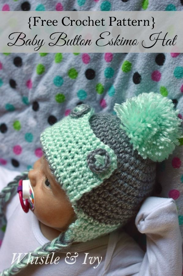 Free Crochet Pattern | Baby Button Eskimo Hat