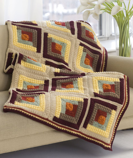 Free Crochet Pattern | Autumn Log Cabin Throw