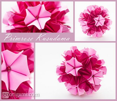 DIY Origami Primrose Kusudama collage Flower
