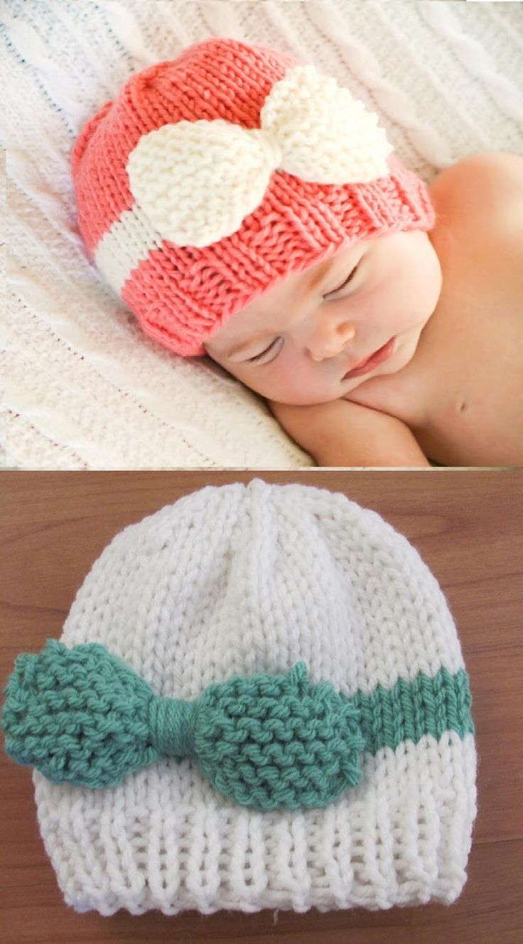 Free Knitting Pattern Knitted Baby Bow Hat New Craft Works