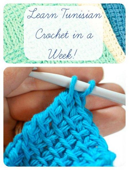 Learn Tuisian Crochet in a Week, Beginner Tutorials with Illustrations