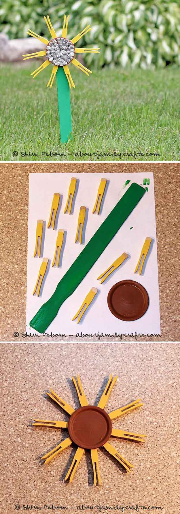 Clothespin Sunflower Craft | 17 Amazing DIY Paint Chip Projects