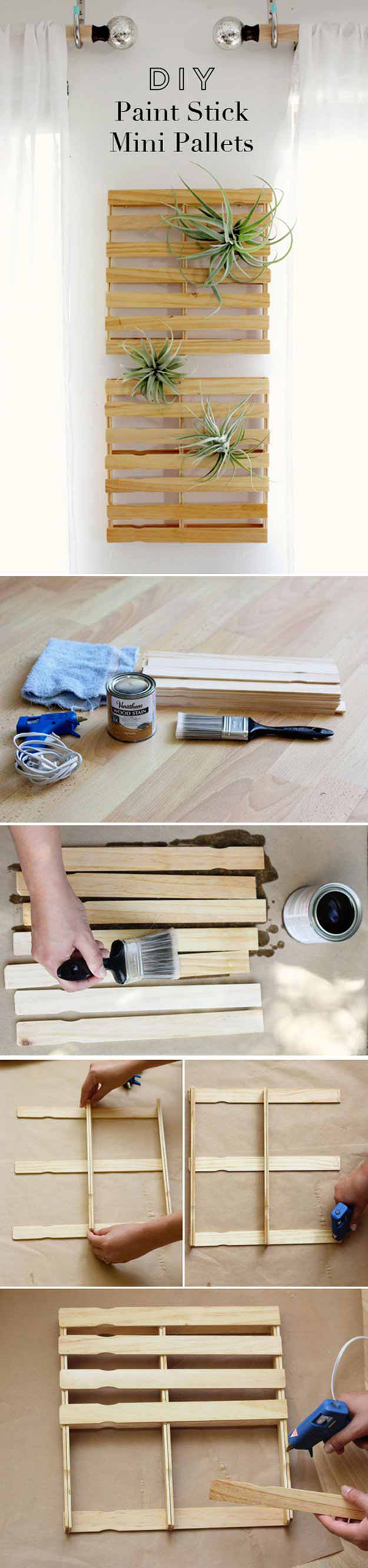 DIY Paint Stick Mini Pallets | 17 Amazing DIY Paint Chip Projects