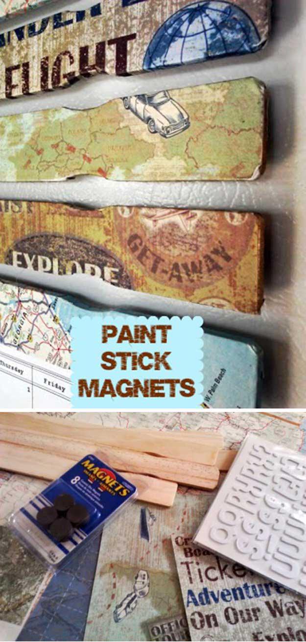 Decoupage Paint Stick Magnets | 17 Amazing DIY Paint Chip Projects