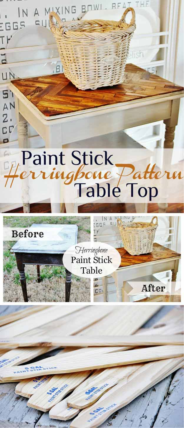 Paint Stick Herringbone Pattern Table Top | 17 Amazing DIY Paint Chip Projects
