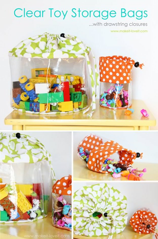 Clear Toy Storage Bag | 24 Smart DIY Toy & Crafts Storage Solutions