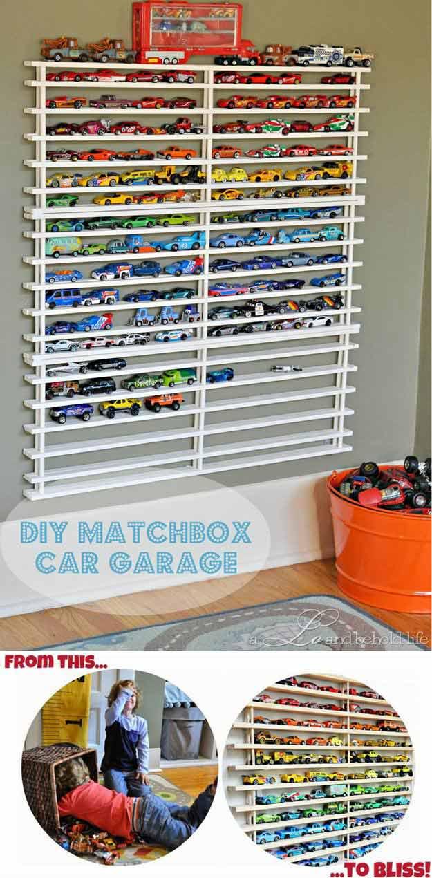 DIY Matchbox Car Wall Garage   24 Smart DIY Toy & Crafts Storage Solutions