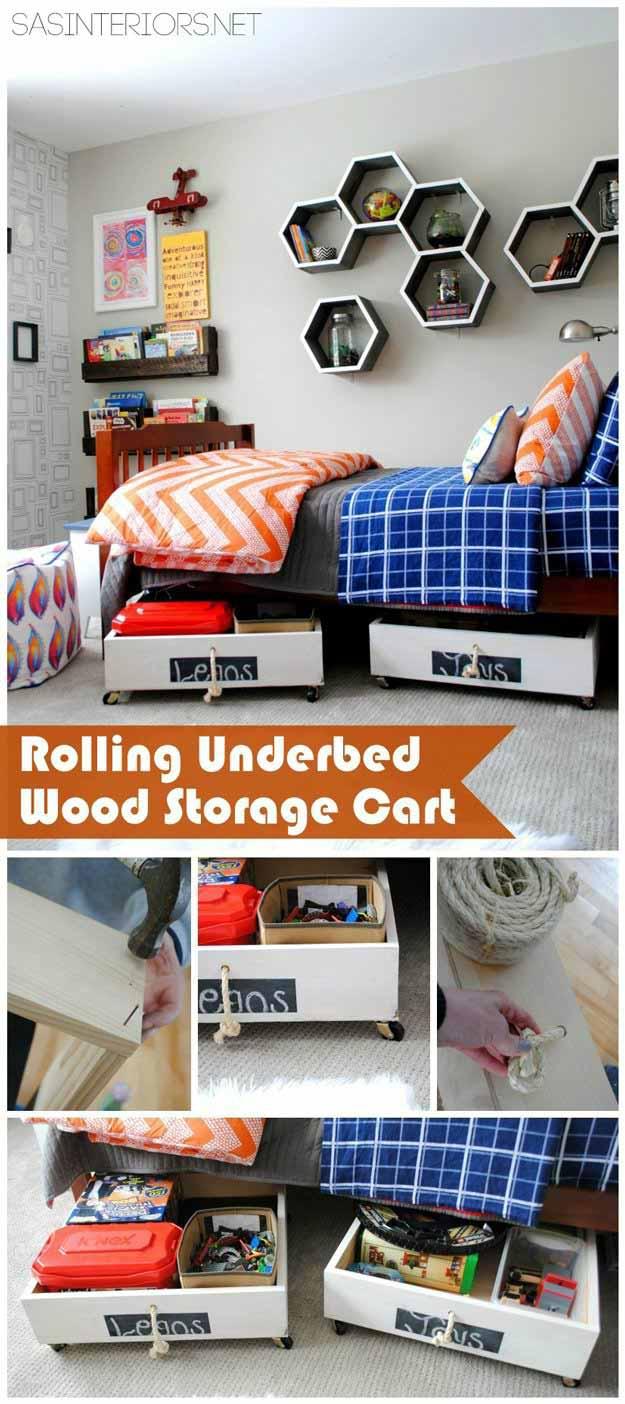 DIY Rolling Underbed Wood Storage Cart   24 Smart DIY Toy & Crafts Storage Solutions