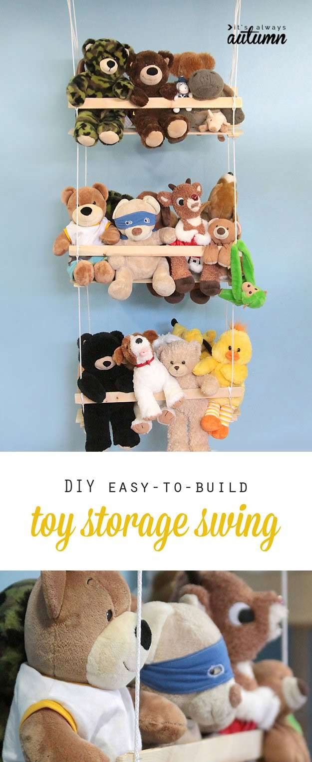 DIY Toy Storage Swing | 24 Smart DIY Toy & Crafts Storage Solutions