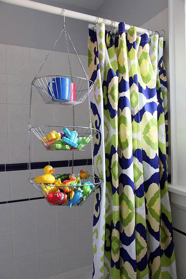 Shower Toy Caddie   24 Smart DIY Toy & Crafts Storage Solutions