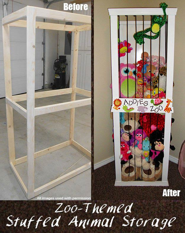 Stuffed Animal Zoo Storage   24 Smart DIY Toy & Crafts Storage Solutions