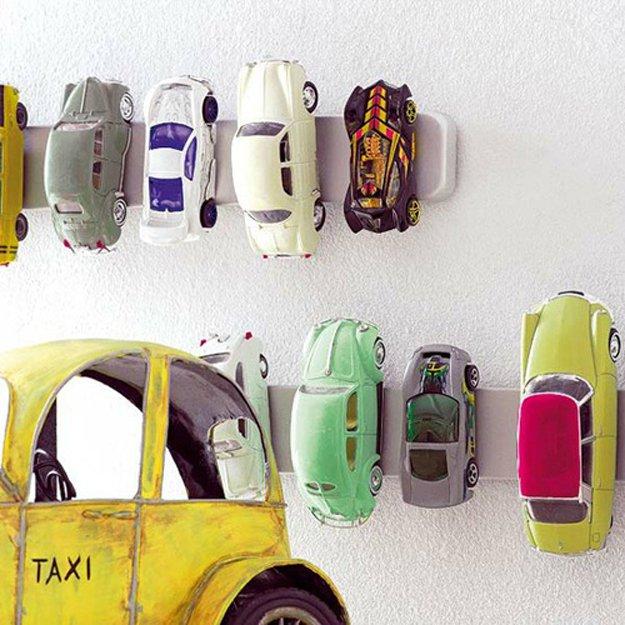 Magnetized Toy Car Storage   24 Smart DIY Toy & Crafts Storage Solutions
