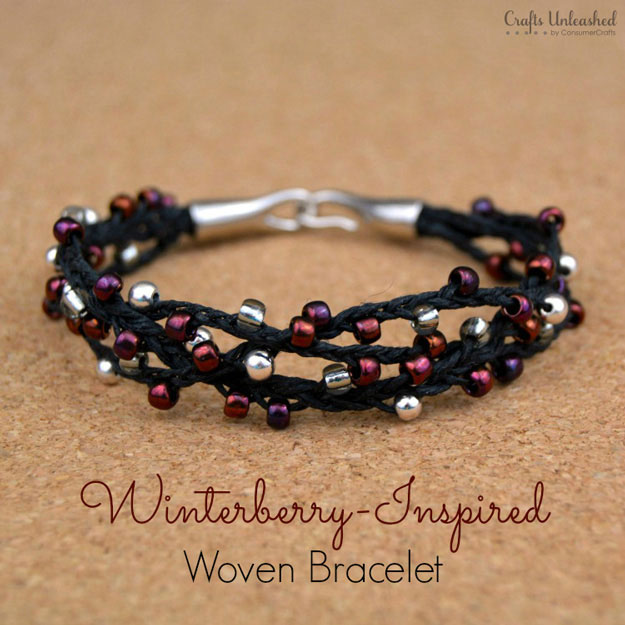 Winterberry-Inspired Woven Bracelet with Beads | DIY Beaded Bracelets You Bead Crafts Lovers Should Be Making