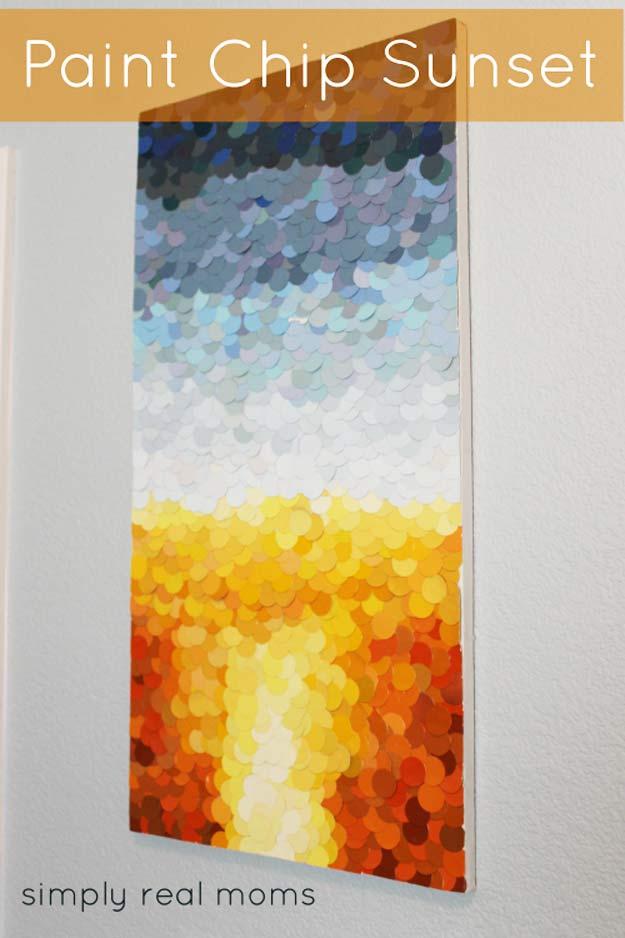 DIY Paint Chip Sunset Art   17 Amazing DIY Paint Chip Projects -