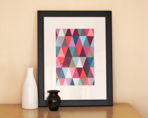 Geometric Wall Art   17 Amazing DIY Paint Chip Projects