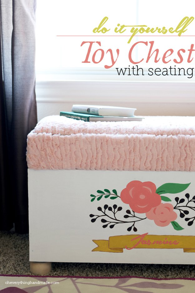 DIY Toy Chest with Seating   24 Smart DIY Toy & Crafts Storage Solutions