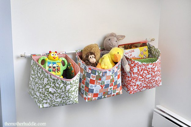 Hanging Fabric Storage Baskets   24 Smart DIY Toy & Crafts Storage Solutions