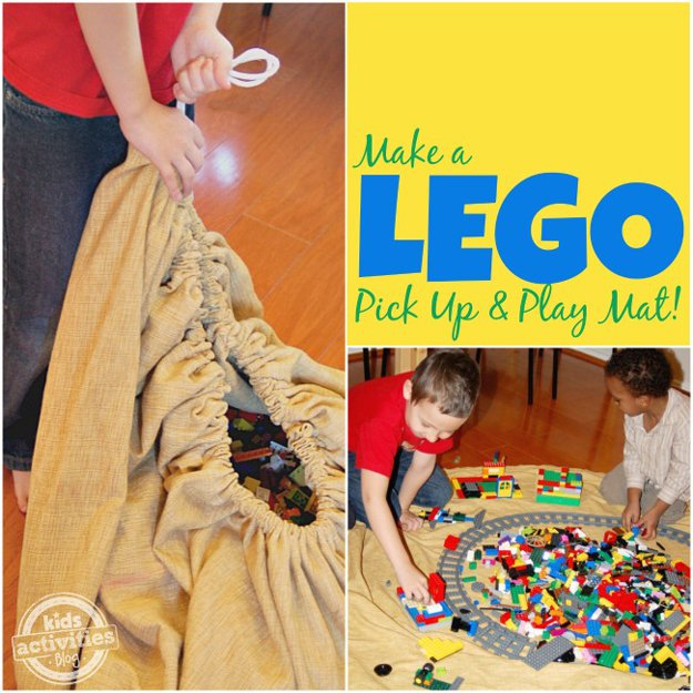 DIY Lego Pickup and Play Mat   24 Smart DIY Toy & Crafts Storage Solutions