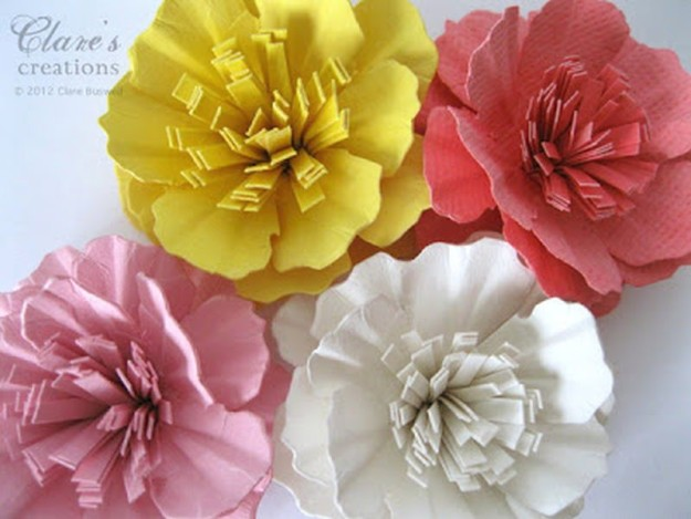 Paper Carnation Flower   10 Flower Craft Ideas: How to Make Construction Paper Flowers