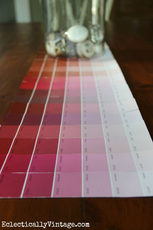 Colorful Table Runner   17 Amazing DIY Paint Chip Projects
