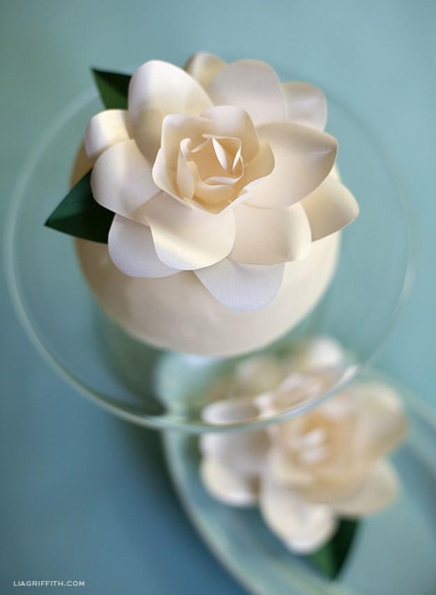 DIY Metallic Paper Gardenia   10 Flower Craft Ideas: How to Make Construction Paper Flowers