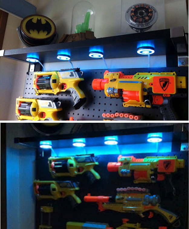 Nerf Gun Display | 24 Smart DIY Toy & Crafts Storage Solutions