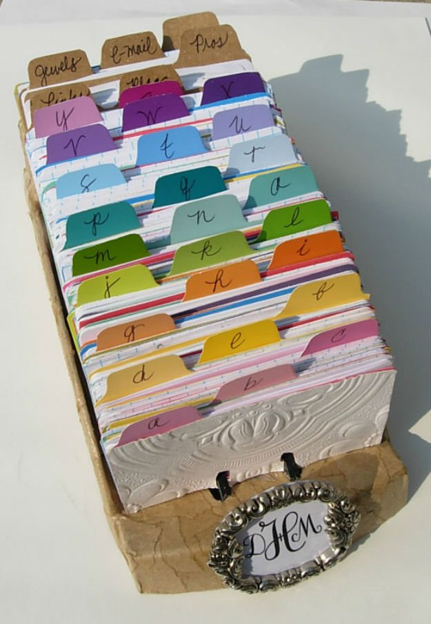 Rolodex / Recipe Separator   17 Amazing DIY Paint Chip Projects