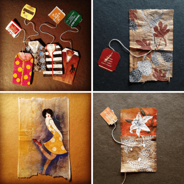 Stained Tea Bags as Canvas | 10 Uses for Used Teabags For Crafters Who Love Tea