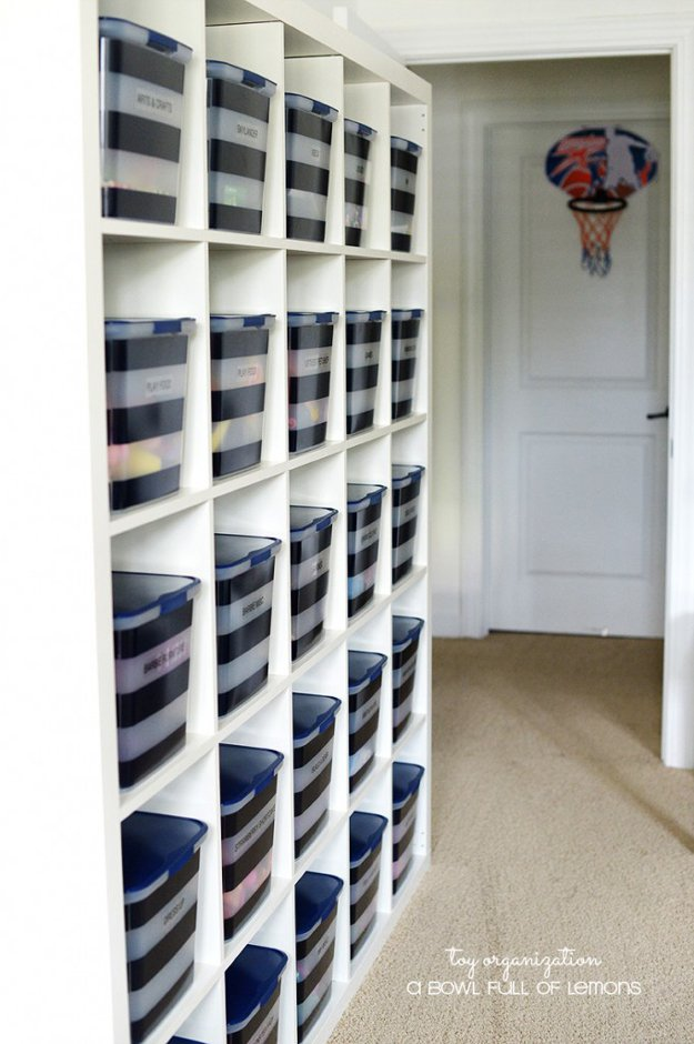 IKEA Shelf Storage with Bins | 24 Smart DIY Toy & Crafts Storage Solutions