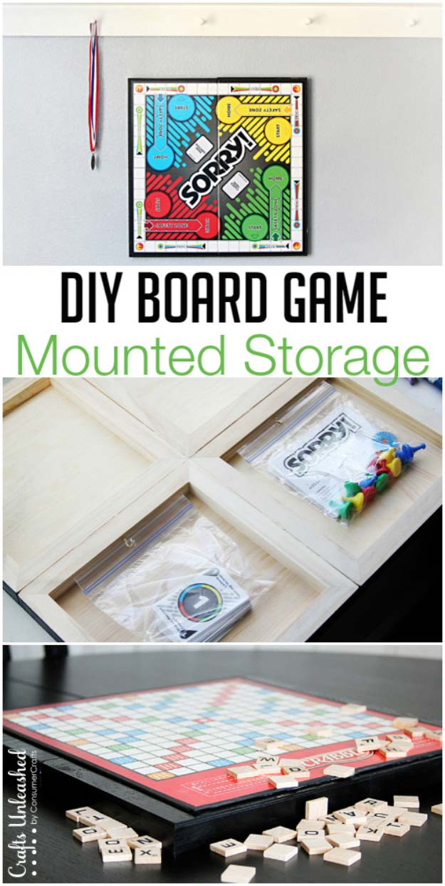 DIY Board Game Mounted Storage Woodworking Projects for Kids