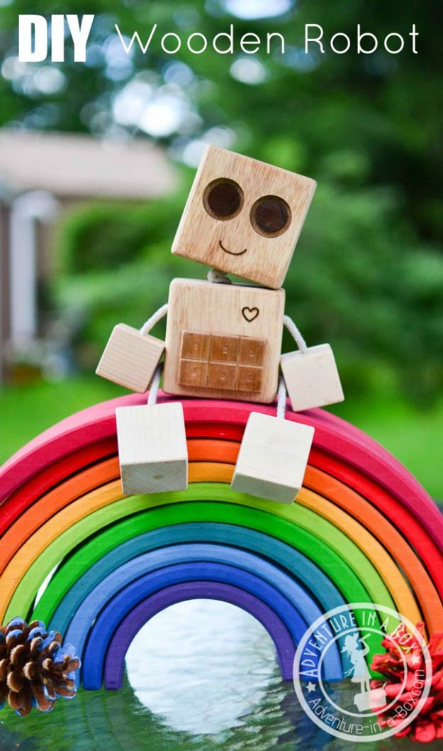 DIY Wooden Robot Buddy Woodworking Project for Kids