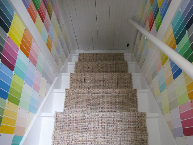 Attic Stairs Decor   17 Amazing DIY Paint Chip Projects
