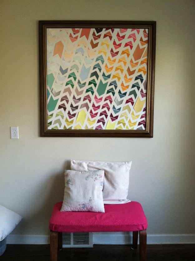 Chevron Wall Art   17 Amazing DIY Paint Chip Projects