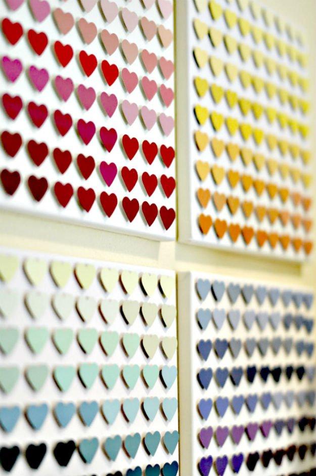 Paint Chip Heart Art   17 Amazing DIY Paint Chip Projects