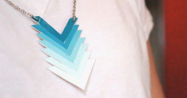 DIY Ombre Paint Chip Chevron Necklace   17 Amazing DIY Paint Chip Projects -