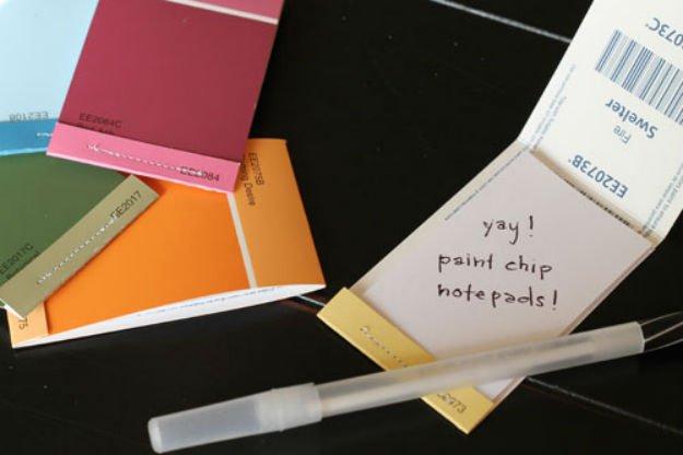 Paint Chip Matchbook Notepads   17 Amazing DIY Paint Chip Projects