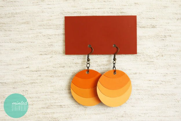 DIY Earrings   17 Amazing DIY Paint Chip Projects