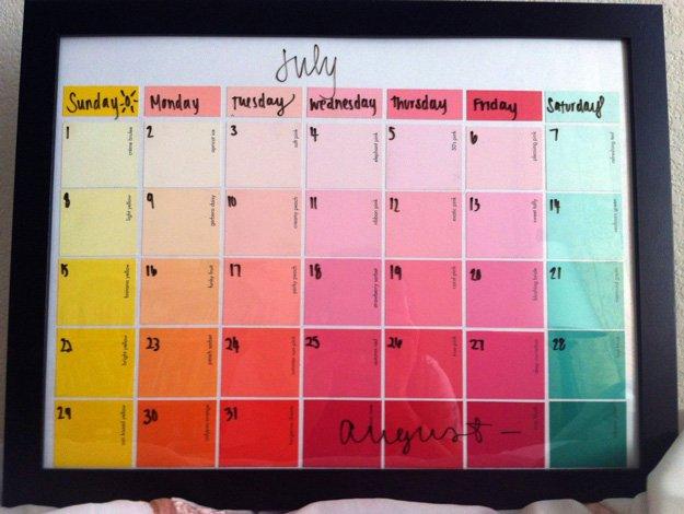 Paint Chip Calendar   17 Amazing DIY Paint Chip Projects
