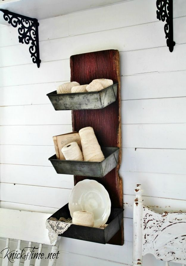 Barn Wood & Bread Tins Wall Bins | 13 DIY Country Home Projects
