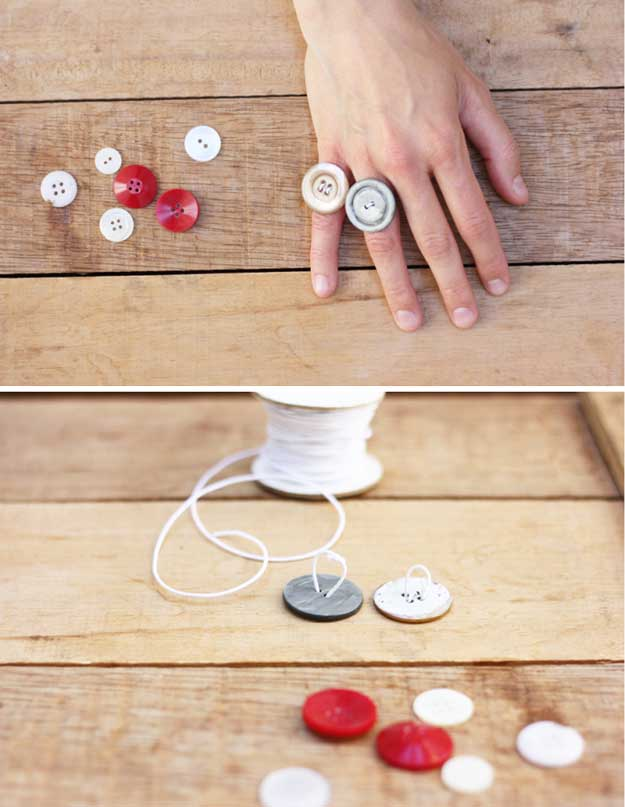 Button Rings | 22 Cheap DIY Jewelry Projects for Girls