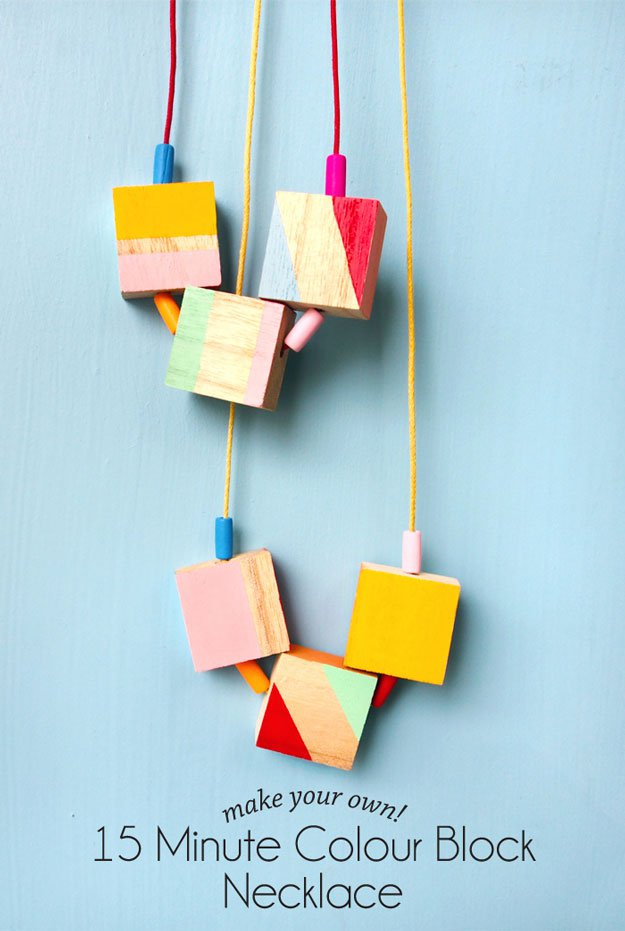 15-Minute Color Block Necklace | 22 Cheap DIY Jewelry Projects for Girls