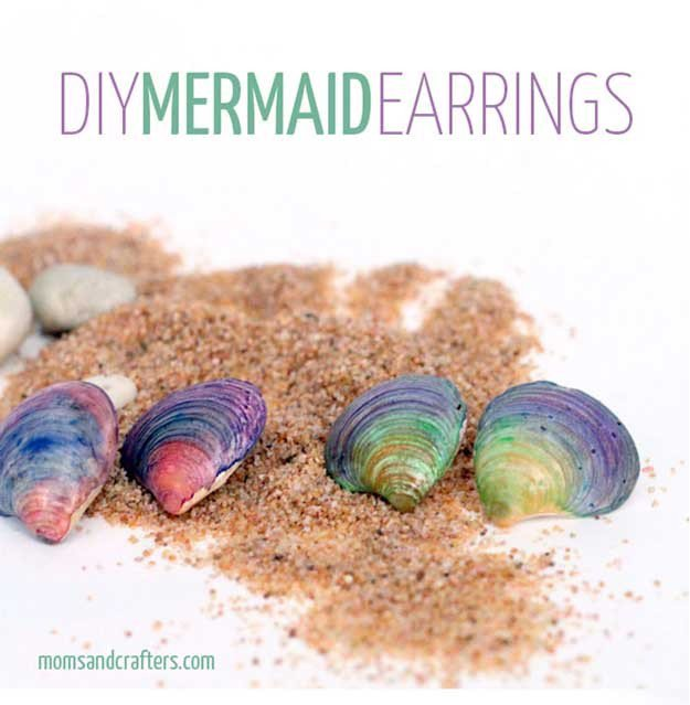 DIY Mermaid Earrings   22 Cheap DIY Jewelry Projects for Girls