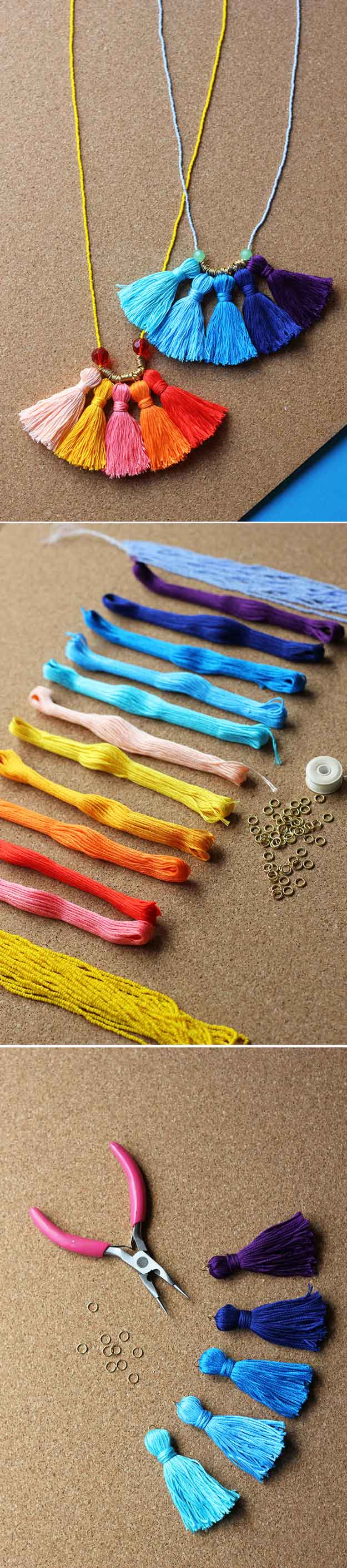 DIY Tassel Necklace   22 Cheap DIY Jewelry Projects for Girls