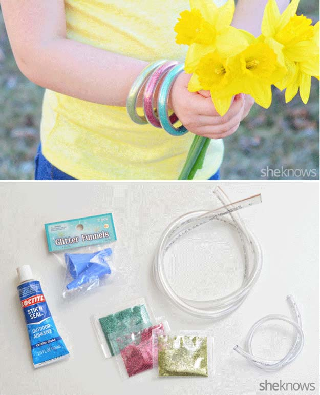 Easy DIY Glitter Bracelets | 22 Cheap DIY Jewelry Projects for Girls