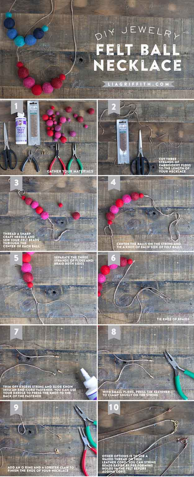 DIY Felt Ball Necklace   22 Cheap DIY Jewelry Projects for Girls