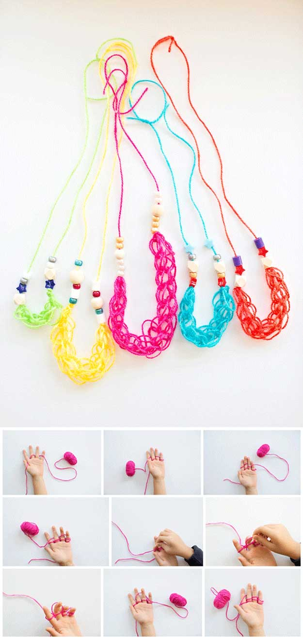 Finger Knitting Necklaces   22 Cheap DIY Jewelry Projects for Girls