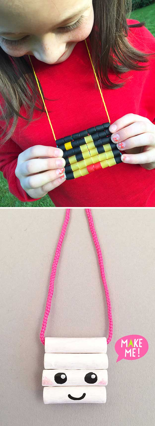Painted Macaroni Necklaces | 22 Cheap DIY Jewelry Projects for Girls