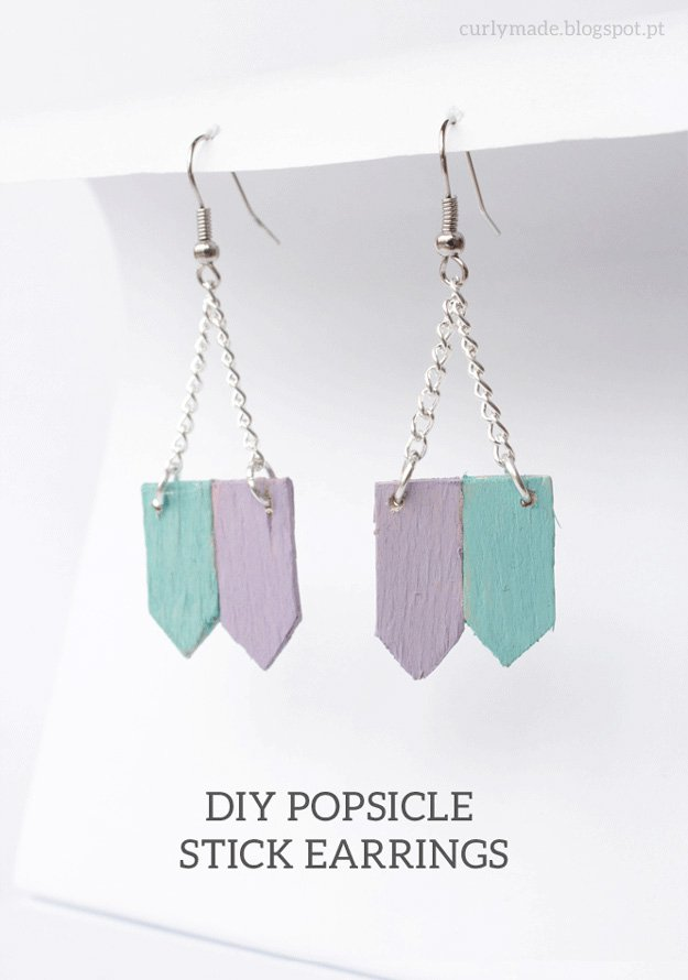 DIY Popsicle Earrings   22 Cheap DIY Jewelry Projects for Girls