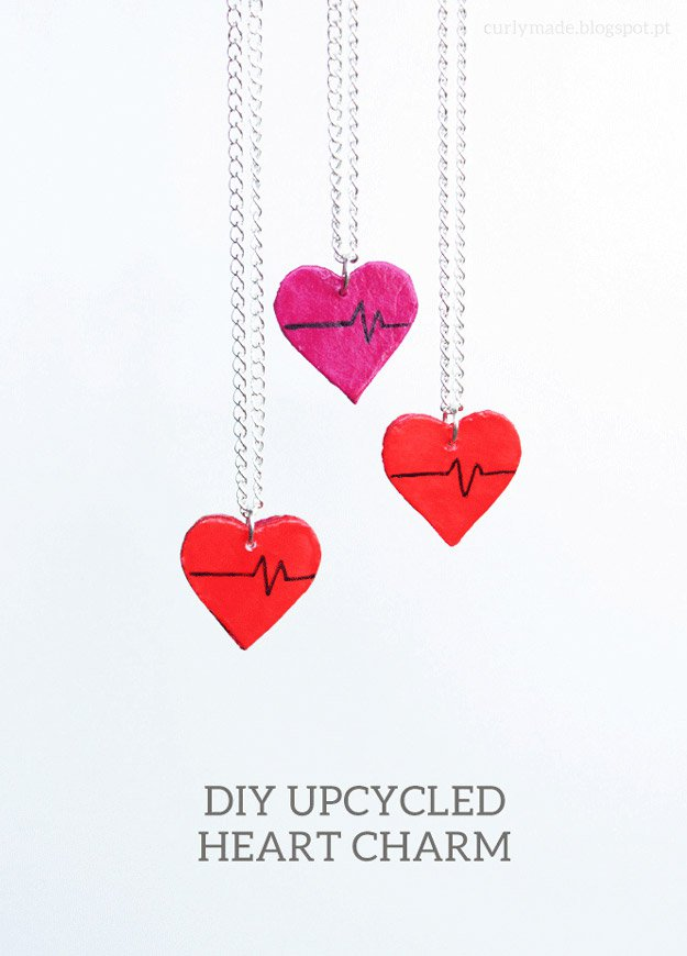 DIY Upcycled Heart Charm   22 Cheap DIY Jewelry Projects for Girls